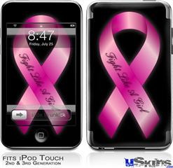 iPod Touch 2G & 3G Skin - Fight Like a Girl Breast Cancer Pink Ribbon on Black