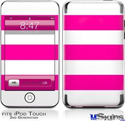 iPod Touch 2G & 3G Skin - Psycho Stripes Hot Pink and White