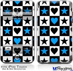 iPod Touch 2G & 3G Skin - Hearts And Stars Blue