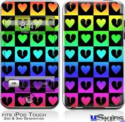 iPod Touch 2G & 3G Skin - Love Heart Checkers Rainbow
