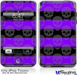 iPod Touch 2G & 3G Skin - Skull Stripes Purple