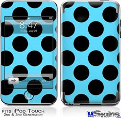 iPod Touch 2G & 3G Skin - Kearas Polka Dots Black And Blue