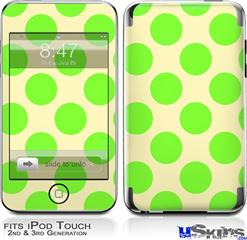 iPod Touch 2G & 3G Skin - Kearas Polka Dots Lime On Cream