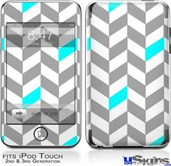 iPod Touch 2G & 3G Skin - Chevrons Gray And Aqua