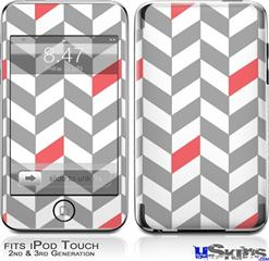 iPod Touch 2G & 3G Skin - Chevrons Gray And Coral