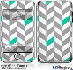 iPod Touch 2G & 3G Skin - Chevrons Gray And Turquoise