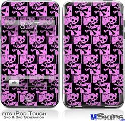 iPod Touch 2G & 3G Skin - Skull Checker Pink