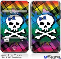 iPod Touch 2G & 3G Skin - Rainbow Plaid Skull