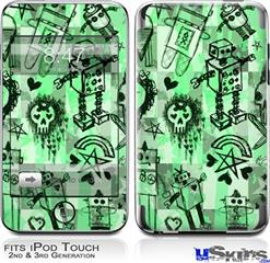 iPod Touch 2G & 3G Skin - Scene Kid Sketches Green