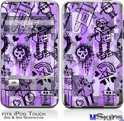 iPod Touch 2G & 3G Skin - Scene Kid Sketches Purple