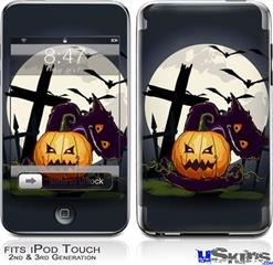 iPod Touch 2G & 3G Skin - Halloween Jack O Lantern and Cemetery Kitty Cat