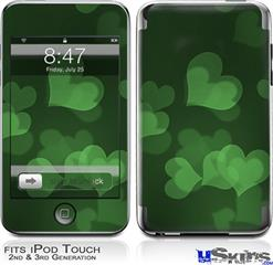 iPod Touch 2G & 3G Skin - Bokeh Hearts Green