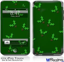 iPod Touch 2G & 3G Skin - Holly Leaves on Green