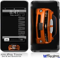 iPod Touch 2G & 3G Skin - 2010 Chevy Camaro Orange - White Stripes