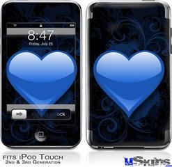 iPod Touch 2G & 3G Skin - Glass Heart Grunge Blue